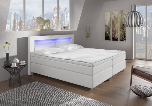 boxspringbett 180x200 wei mit led beleuchtung und chromleisten hotelbett doppelbett polsterbett