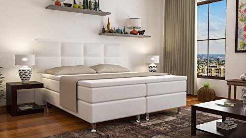 boxspringbett miami hotelbett betten 140x200 cm oder 180x200 cm mit visco topper weiss 180x200. Black Bedroom Furniture Sets. Home Design Ideas